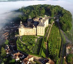 Sky view of the Hautefort castle